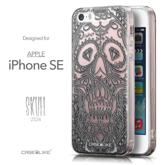 Front & Side View - CASEiLIKE Apple iPhone SE back cover Art of Skull 2524