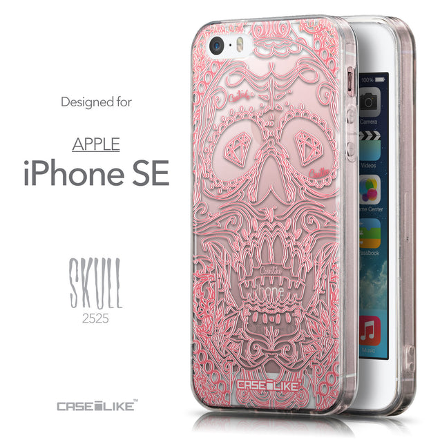 Front & Side View - CASEiLIKE Apple iPhone SE back cover Art of Skull 2525