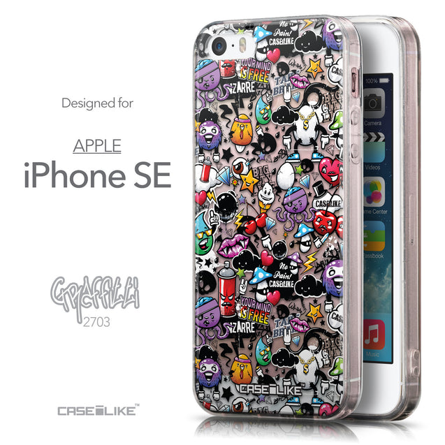 Front & Side View - CASEiLIKE Apple iPhone SE back cover Graffiti 2703