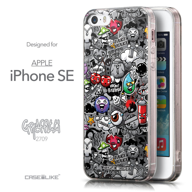 Front & Side View - CASEiLIKE Apple iPhone SE back cover Graffiti 2709