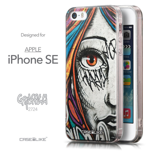 Front & Side View - CASEiLIKE Apple iPhone SE back cover Graffiti Girl 2724