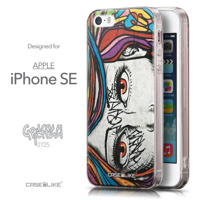 Front & Side View - CASEiLIKE Apple iPhone SE back cover Graffiti Girl 2725