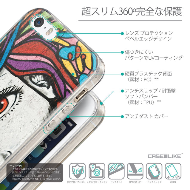 Details in Japanese - CASEiLIKE Apple iPhone SE back cover Graffiti Girl 2725