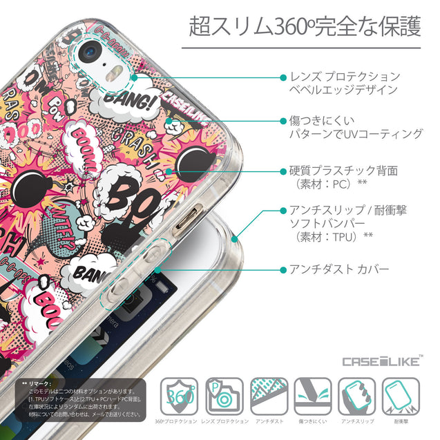 Details in Japanese - CASEiLIKE Apple iPhone SE back cover Comic Captions Pink 2912