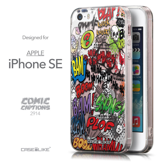 Front & Side View - CASEiLIKE Apple iPhone SE back cover Comic Captions 2914