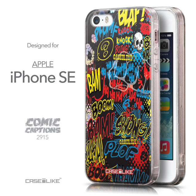 Front & Side View - CASEiLIKE Apple iPhone SE back cover Comic Captions Black 2915