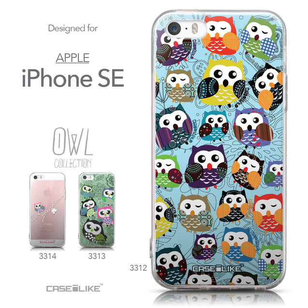 Collection - CASEiLIKE Apple iPhone SE back cover Owl Graphic Design 3312