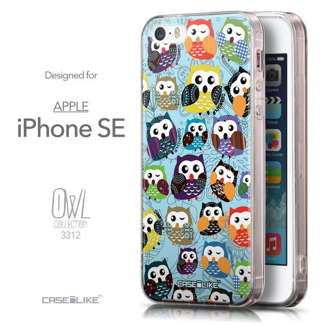 Front & Side View - CASEiLIKE Apple iPhone SE back cover Owl Graphic Design 3312