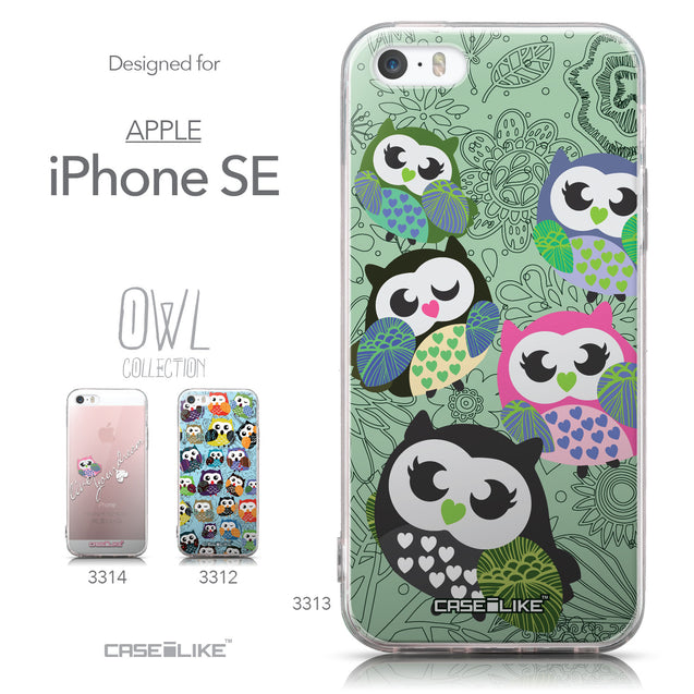 Collection - CASEiLIKE Apple iPhone SE back cover Owl Graphic Design 3313