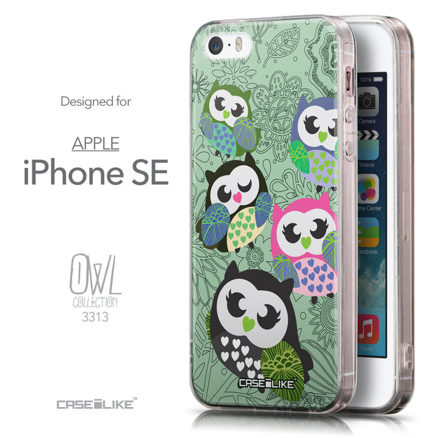 Front & Side View - CASEiLIKE Apple iPhone SE back cover Owl Graphic Design 3313