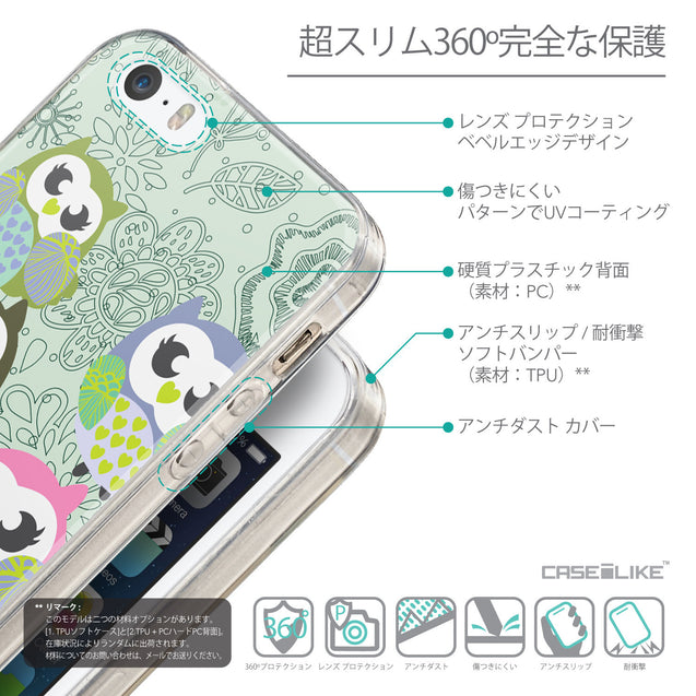 Details in Japanese - CASEiLIKE Apple iPhone SE back cover Owl Graphic Design 3313