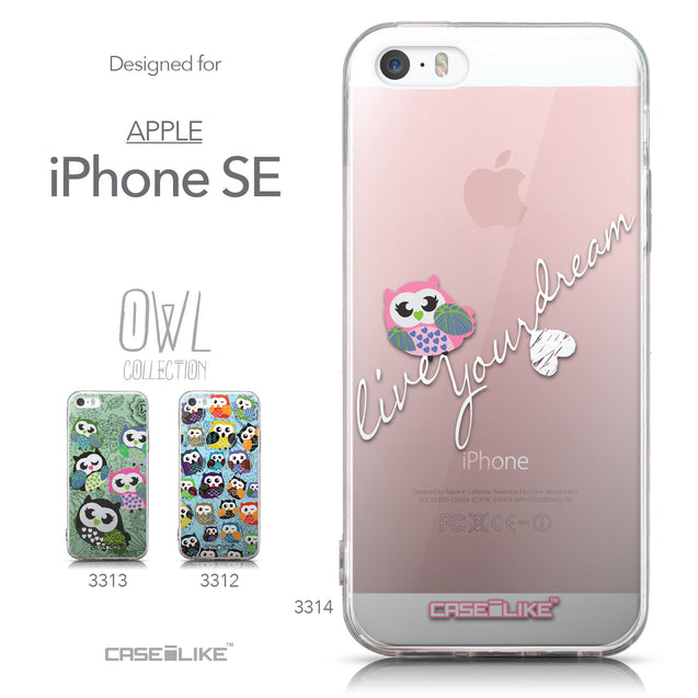 Collection - CASEiLIKE Apple iPhone SE back cover Owl Graphic Design 3314