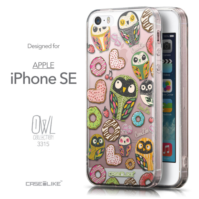 Front & Side View - CASEiLIKE Apple iPhone SE back cover Owl Graphic Design 3315
