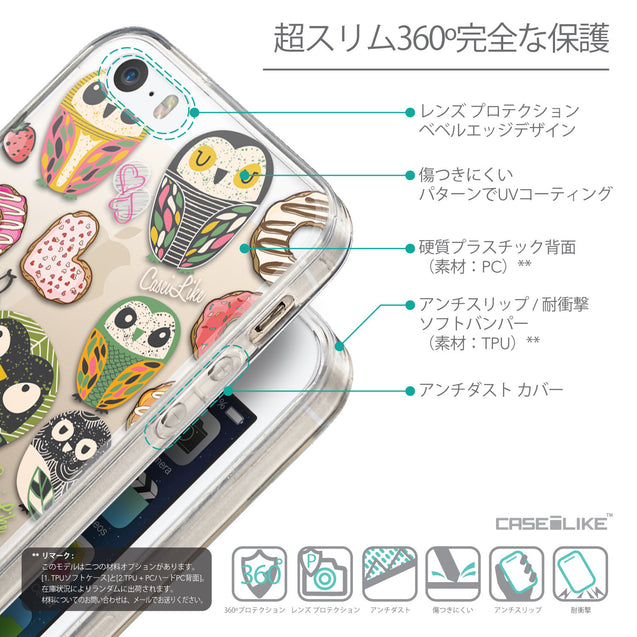 Details in Japanese - CASEiLIKE Apple iPhone SE back cover Owl Graphic Design 3315