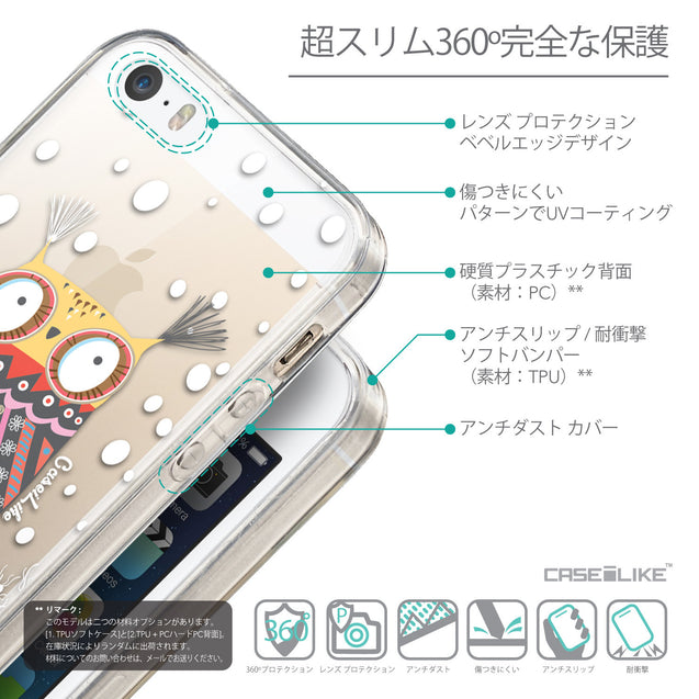 Details in Japanese - CASEiLIKE Apple iPhone SE back cover Owl Graphic Design 3317