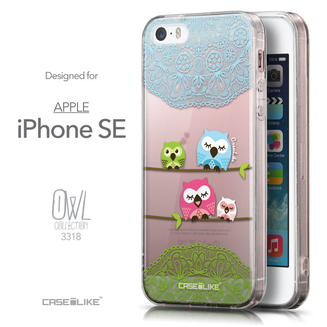 Front & Side View - CASEiLIKE Apple iPhone SE back cover Owl Graphic Design 3318