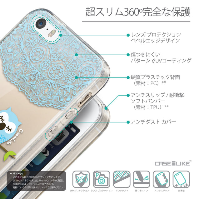 Details in Japanese - CASEiLIKE Apple iPhone SE back cover Owl Graphic Design 3318