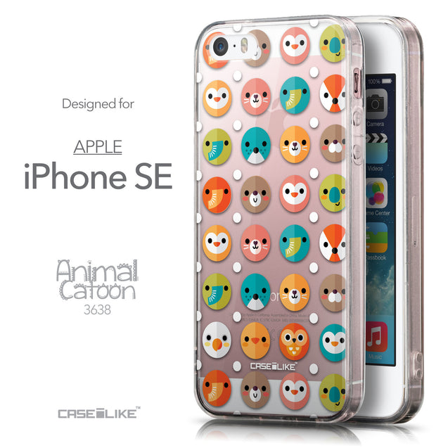 Front & Side View - CASEiLIKE Apple iPhone SE back cover Animal Cartoon 3638