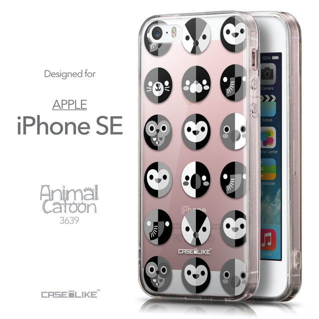 Front & Side View - CASEiLIKE Apple iPhone SE back cover Animal Cartoon 3639