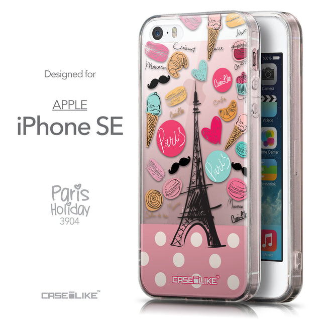 Front & Side View - CASEiLIKE Apple iPhone SE back cover Paris Holiday 3904