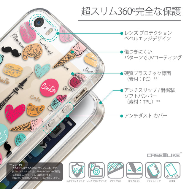 Details in Japanese - CASEiLIKE Apple iPhone SE back cover Paris Holiday 3904