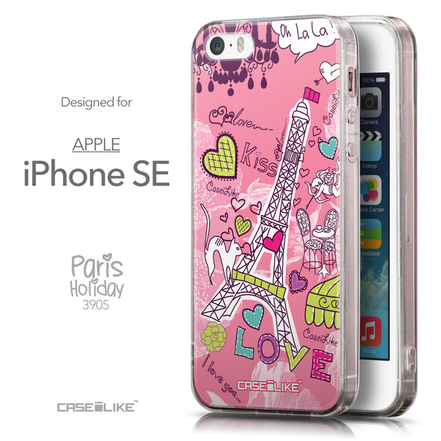 Front & Side View - CASEiLIKE Apple iPhone SE back cover Paris Holiday 3905