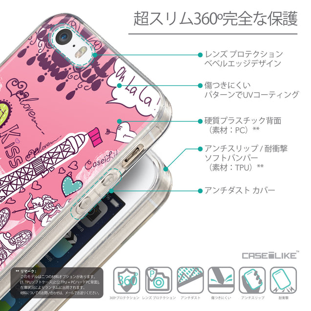 Details in Japanese - CASEiLIKE Apple iPhone SE back cover Paris Holiday 3905