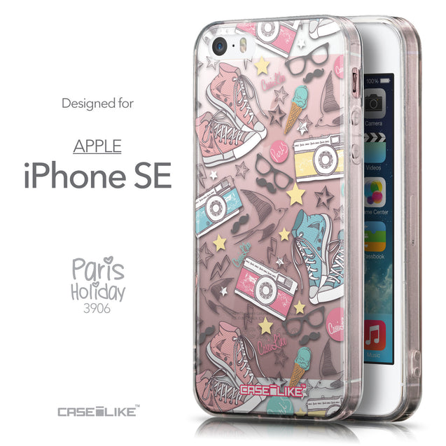 Front & Side View - CASEiLIKE Apple iPhone SE back cover Paris Holiday 3906