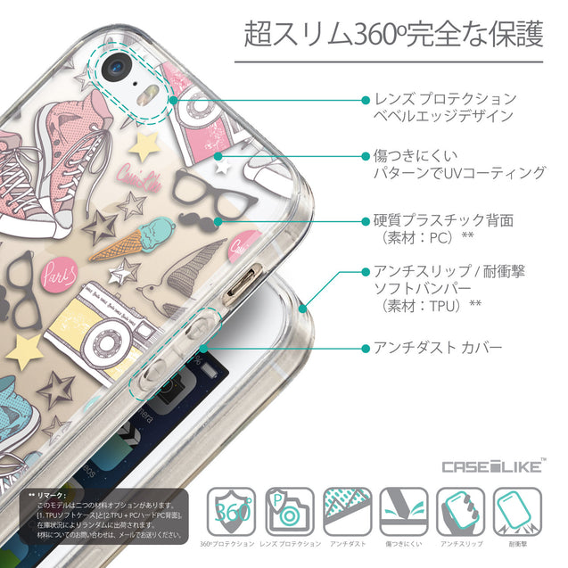 Details in Japanese - CASEiLIKE Apple iPhone SE back cover Paris Holiday 3906