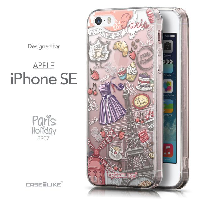 Front & Side View - CASEiLIKE Apple iPhone SE back cover Paris Holiday 3907