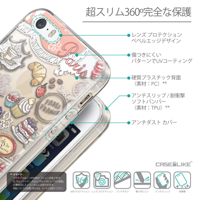 Details in Japanese - CASEiLIKE Apple iPhone SE back cover Paris Holiday 3907