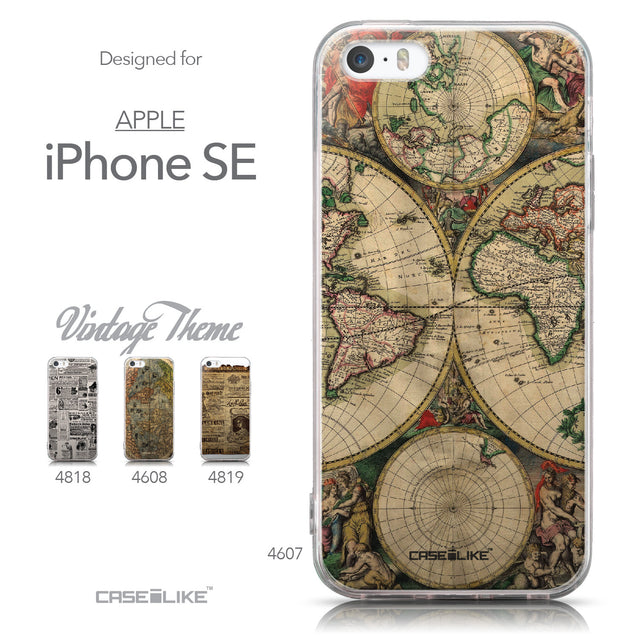 Collection - CASEiLIKE Apple iPhone SE back cover World Map Vintage 4607