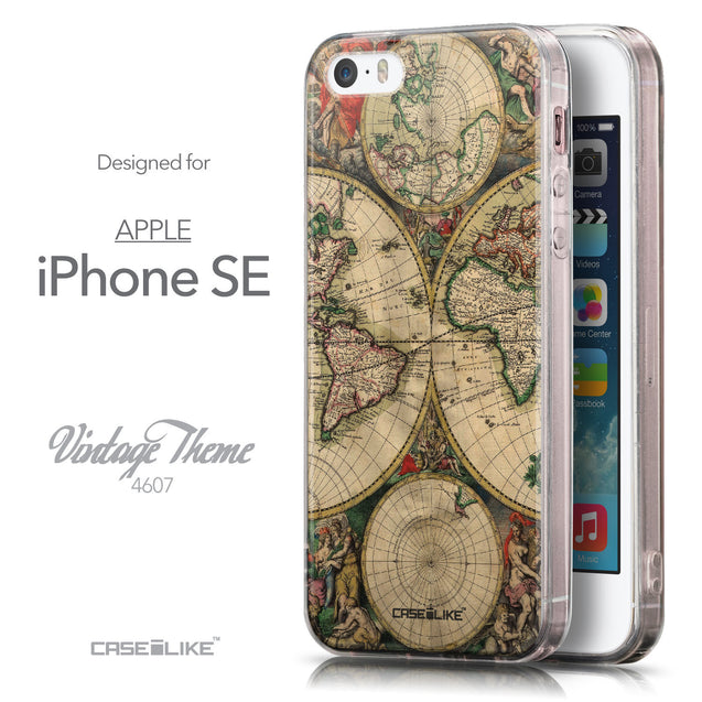 Front & Side View - CASEiLIKE Apple iPhone SE back cover World Map Vintage 4607