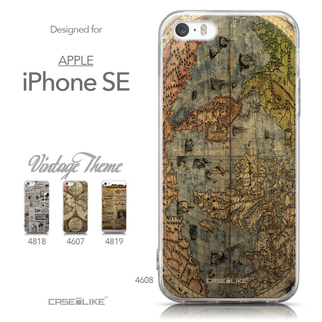 Collection - CASEiLIKE Apple iPhone SE back cover World Map Vintage 4608