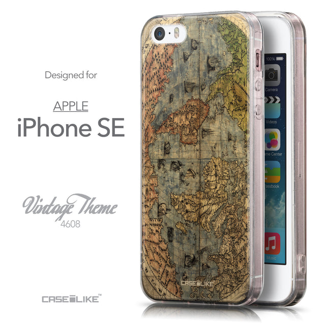 Front & Side View - CASEiLIKE Apple iPhone SE back cover World Map Vintage 4608