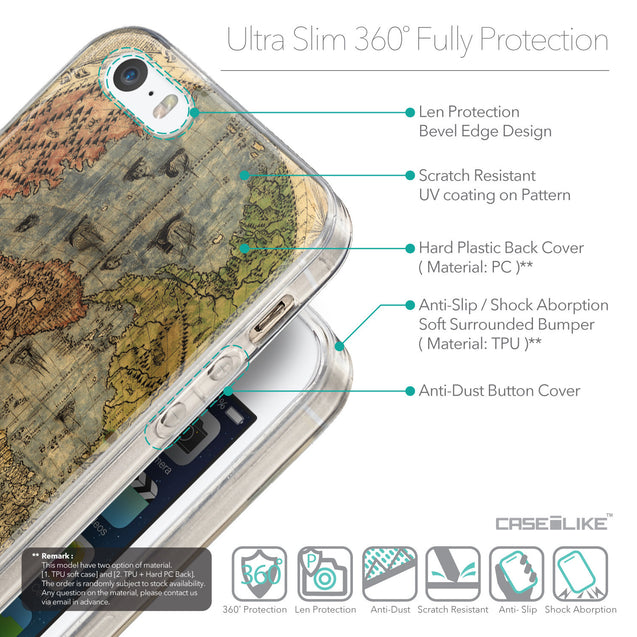 Details in English - CASEiLIKE Apple iPhone SE back cover World Map Vintage 4608