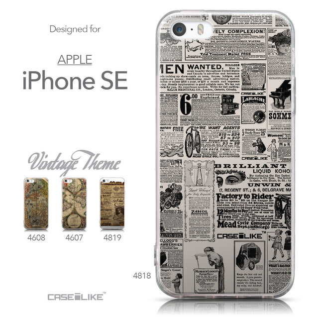 Collection - CASEiLIKE Apple iPhone SE back cover Vintage Newspaper Advertising 4818