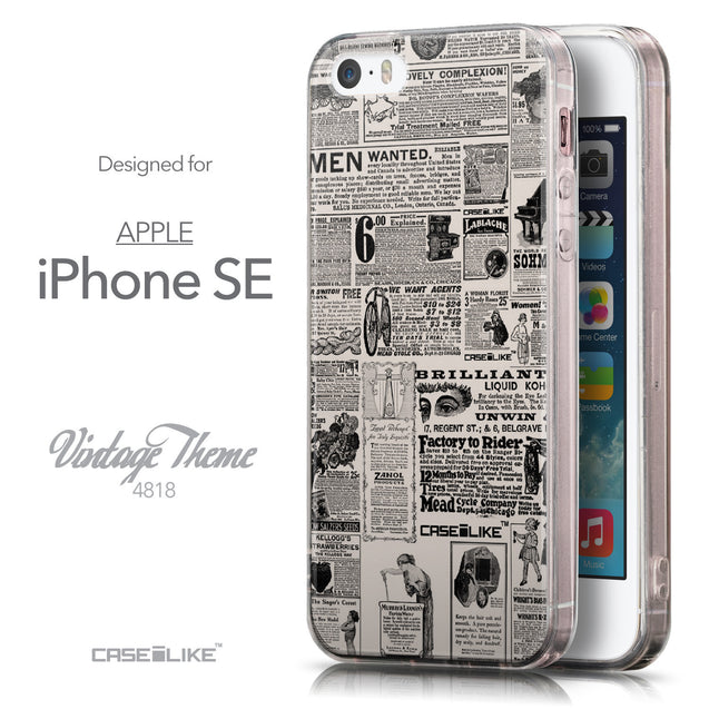 Front & Side View - CASEiLIKE Apple iPhone SE back cover Vintage Newspaper Advertising 4818