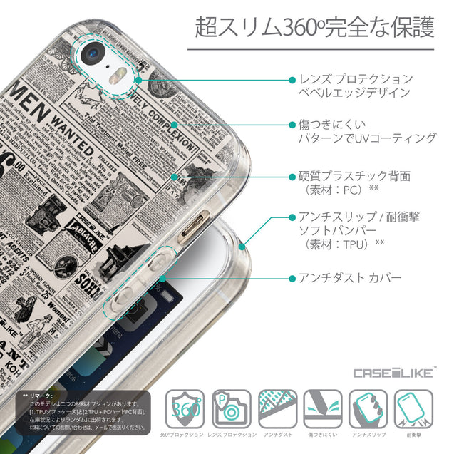Details in Japanese - CASEiLIKE Apple iPhone SE back cover Vintage Newspaper Advertising 4818