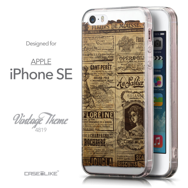 Front & Side View - CASEiLIKE Apple iPhone SE back cover Vintage Newspaper Advertising 4819