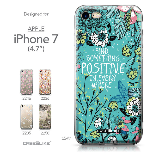 Apple iPhone 7 case Blooming Flowers Turquoise 2249 Collection | CASEiLIKE.com