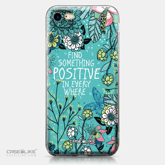 Apple iPhone 7 case Blooming Flowers Turquoise 2249 | CASEiLIKE.com