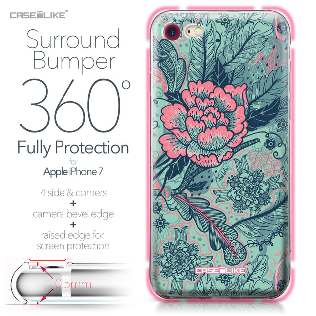 Apple iPhone 7 case Vintage Roses and Feathers Turquoise 2253 Bumper Case Protection | CASEiLIKE.com