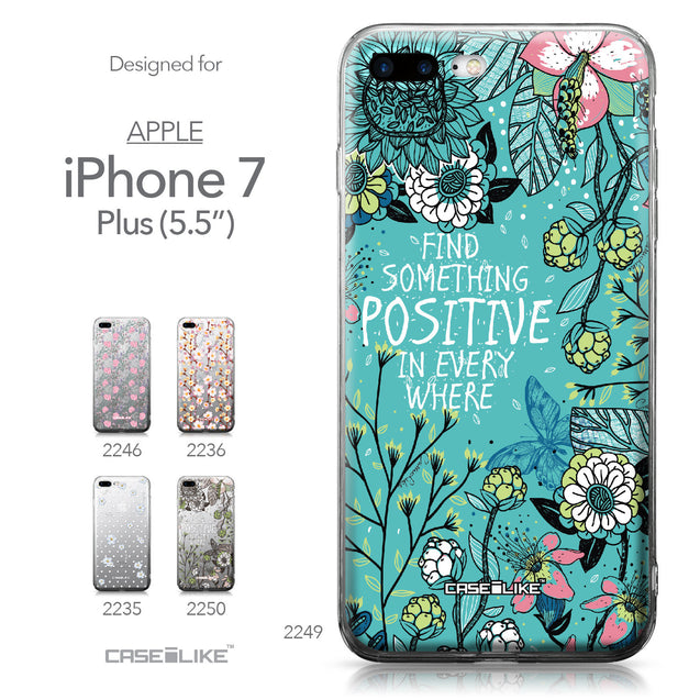 Apple iPhone 7 Plus case Blooming Flowers Turquoise 2249 Collection | CASEiLIKE.com