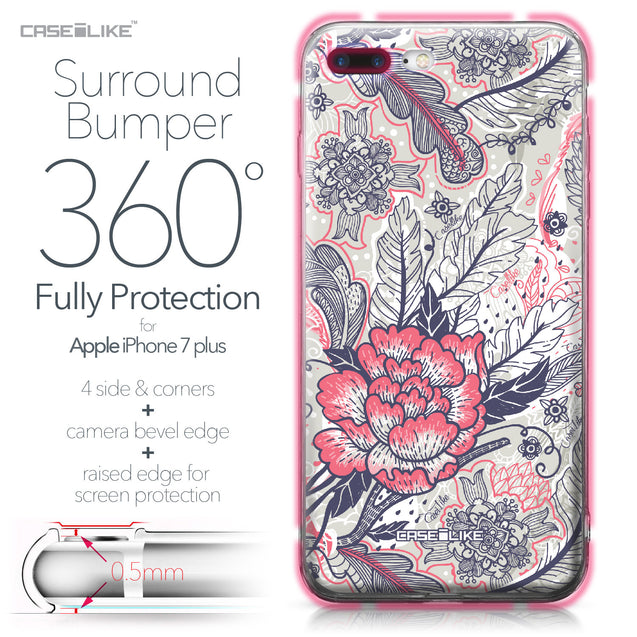 Apple iPhone 7 Plus case Vintage Roses and Feathers Beige 2251 Bumper Case Protection | CASEiLIKE.com