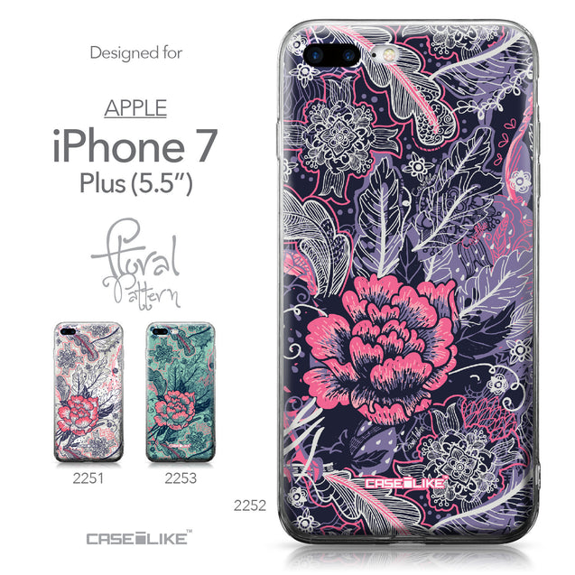 Apple iPhone 7 Plus case Vintage Roses and Feathers Blue 2252 Collection | CASEiLIKE.com