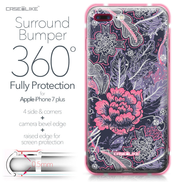 Apple iPhone 7 Plus case Vintage Roses and Feathers Blue 2252 Bumper Case Protection | CASEiLIKE.com