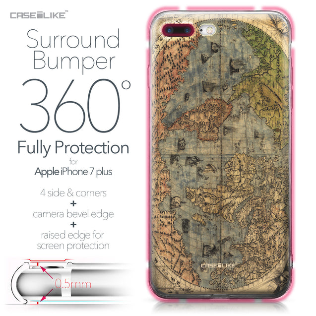 Apple iPhone 7 Plus case World Map Vintage 4608 Bumper Case Protection | CASEiLIKE.com