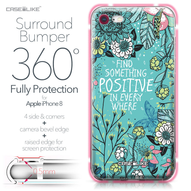 Apple iPhone 8 case Blooming Flowers Turquoise 2249 Bumper Case Protection | CASEiLIKE.com