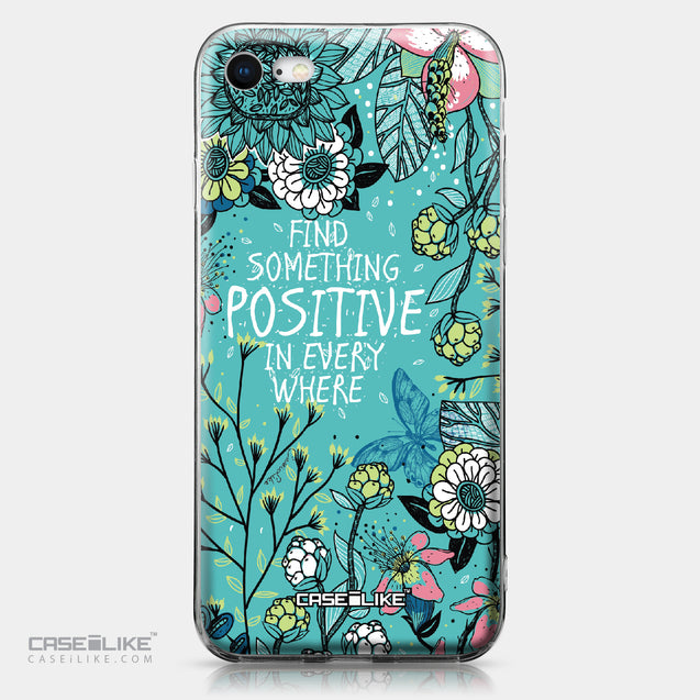 Apple iPhone 8 case Blooming Flowers Turquoise 2249 | CASEiLIKE.com